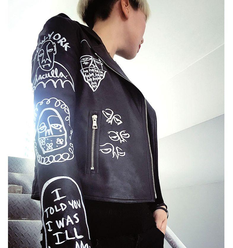 Punk Rock Graffiti PU   leather   Jacket 2017 spring autumn short design Women embroidery motorcycle outerwear