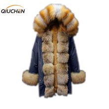 ФОТО QIUCHEN PJ6002 real long parka red fox fur parka with rex rabbit fur lining and red fox hood and fur tirm high  coat