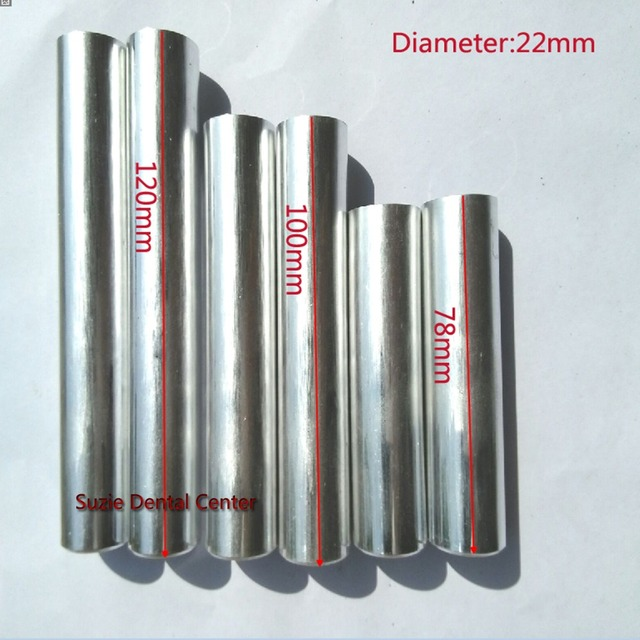 100PCS New Dental Lab Aluminum Cartridge Diameter 22mm With Cover Lab Flexible Acrylic Denture Inject Acrylic Work Length 120mm
