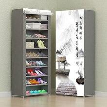 8 Слои 10 Слои Комбинации обувной шкаф простой ткани для хранения обуви стойки складной пыленепроницаемый обувные полки DIY мебель