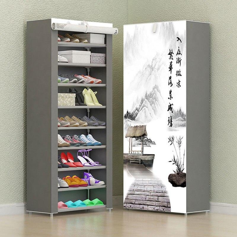 8 слойный 10 слойный комбинированный шкаф для обуви, простой тканевый стеллаж для хранения обуви, складная Пыленепроницаемая полка для обуви