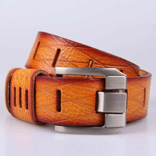 Mejor Calidad de la Primera Clase Del Cuero Genuino Real Para Hombre Hollow Aleación de Ancho Cinturones de Hebilla de Cinturón de Diseñador Hombres de Lujo Longitud 105-135 cm W19