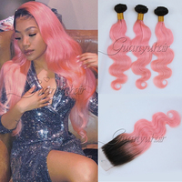 Guanyuhair Ombre 3 Bundles With Lace Closure 4x4 #1B/Pink Dark Roots Body Wave Brazilian Virgin Remy Human Hair Weave