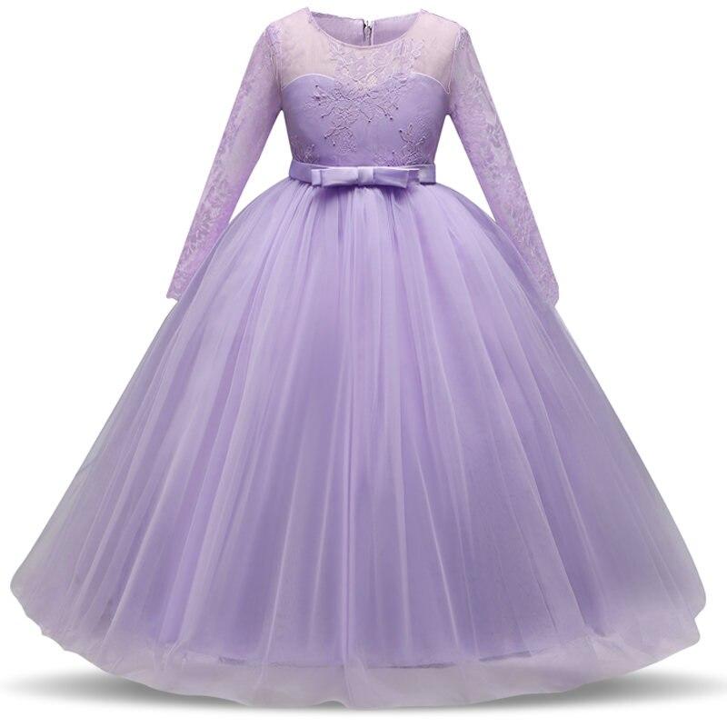 5-14Y Crianças Meninas Crochet Flor Menina Vestido Elegante Princesa ...