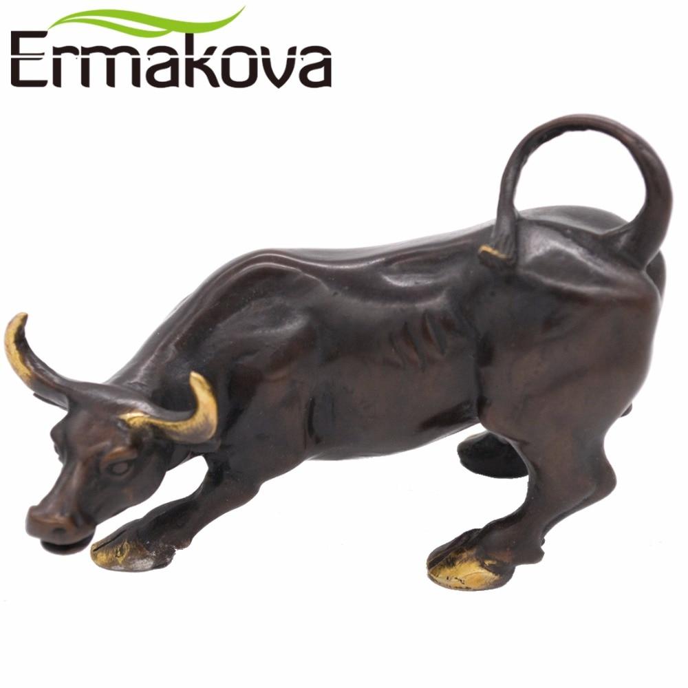 ERMAKOVA Black 11 5cm Brass Wall Street Bull Ox Figurine Charging Stock Market Bull Statue Feng