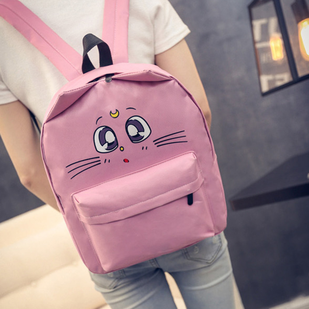 Lovely Cat Printing Backpack Women Canvas School Backpack For Teenagers Ladies Casual Cute Rucksack Bookbags Mochila Feminina #4