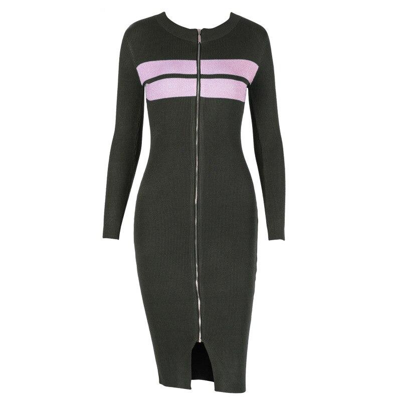 Sweater Dress For Woman Long Sleeve Split Zipper Knitted Wear Clothes 2018 Knee Length WS5357U