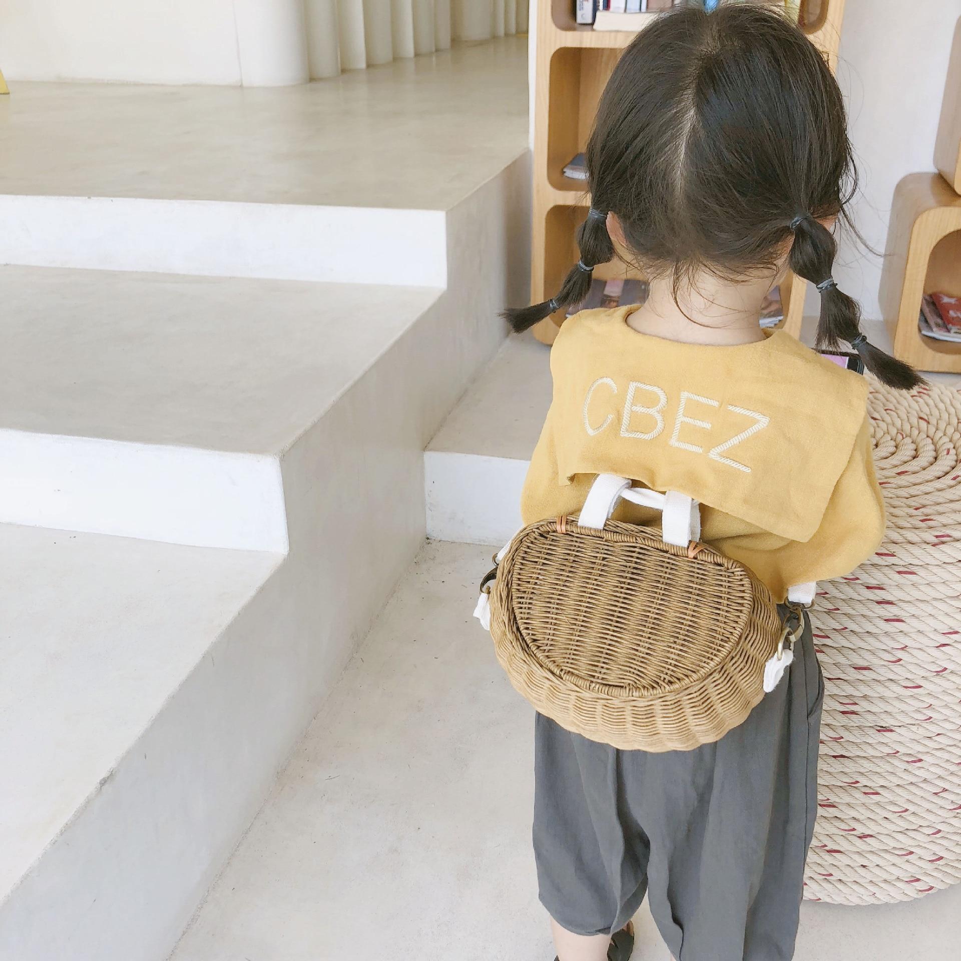 Women wintage rattan beach straw bag Childrens rattan shoulder messenger bamboo basket