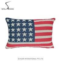 SewCrane EE. UU. Estrellas Rayas de La Bandera Americana de Lino Rectangle Cojín Decorativo Funda de Almohada Fundas de Colchón