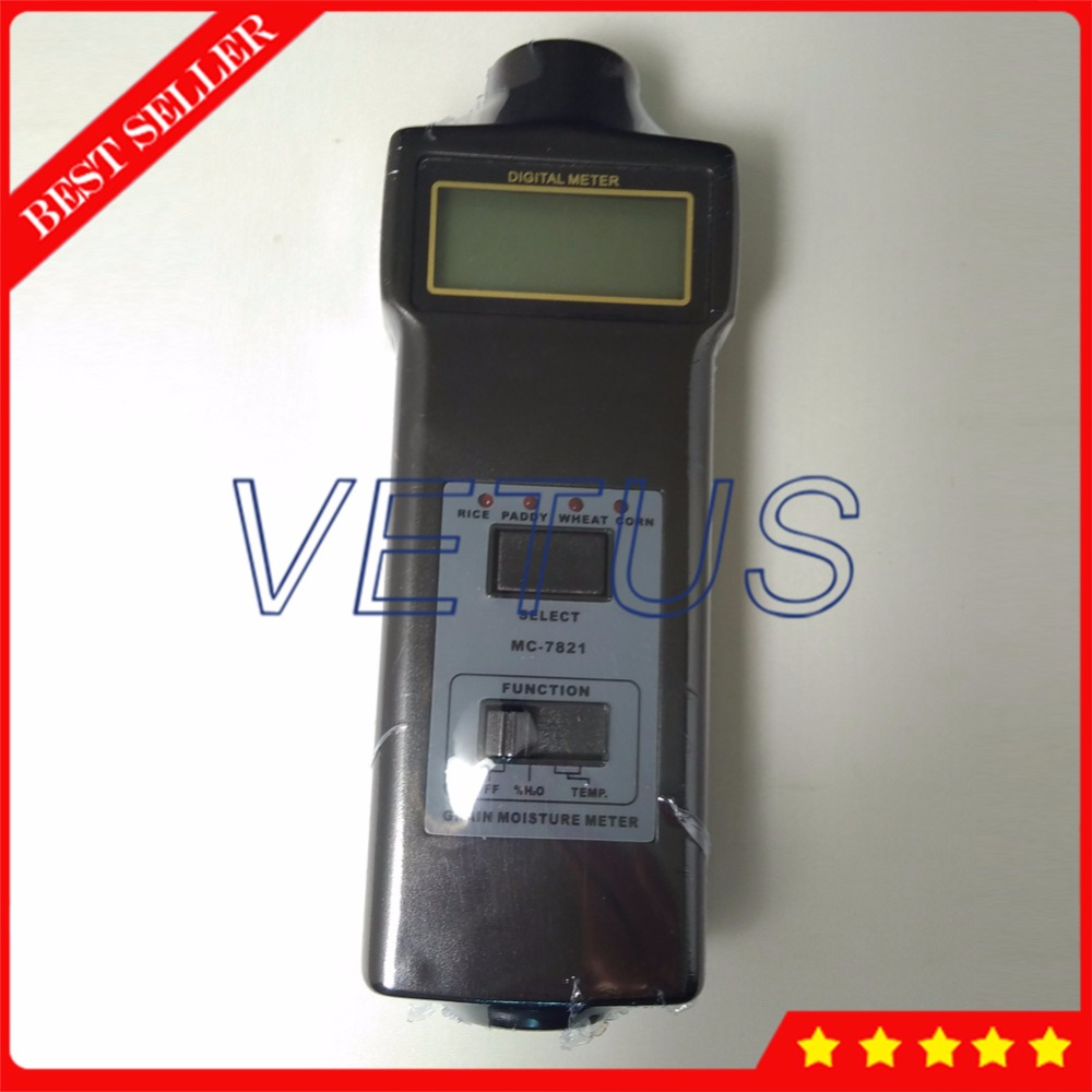 Paddy Rice Wheat Corn Moisture Meter Tester with MC7821 Grain Moisture Analyzer -10~55C Digital Thermometer Price mc 7806 digital moisture analyzer price pin type moisture meter for tobacco cotton paper building soil