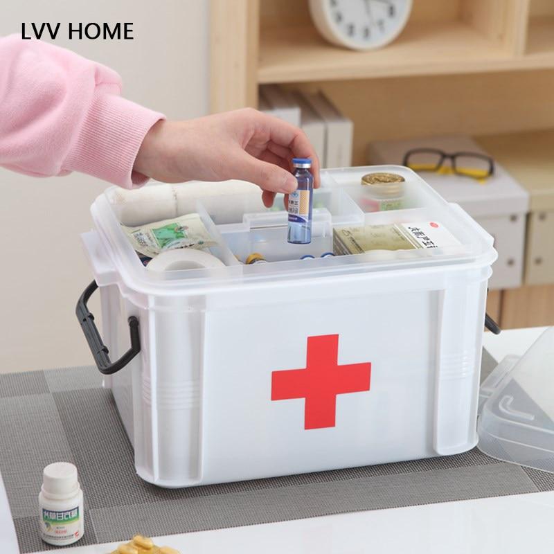 LVV HOME multi-layer separation medicine chest/1pc portable plastic thicken home medicine collection box