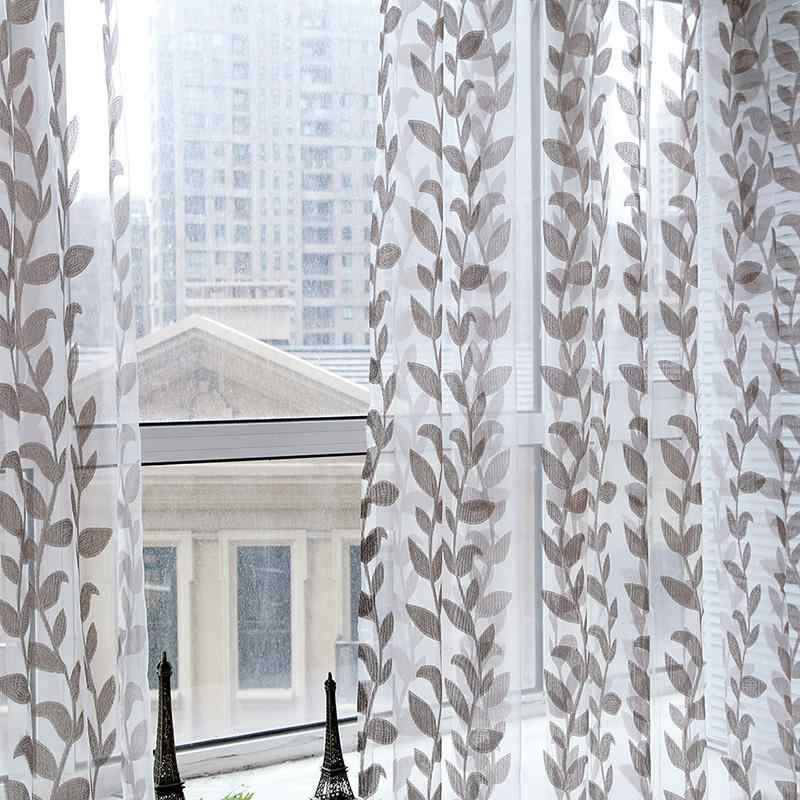 Voile Super Willow Leaves Pattern Tulle Window Curtain Fabric Drapes Scarf Sheer Panel Valances Blinds for Living Room