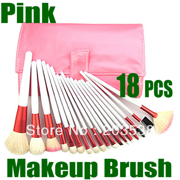 Makeup Brushes 18pcs Pink Professional Makeup Brush Set face powder make up facial eyebrow brush make-up with Pink Leather Case 12pcs lot professioal makeup brush set with black leather case eyeshadow eyebrow sponge make up brushes 2 color makeup brushes