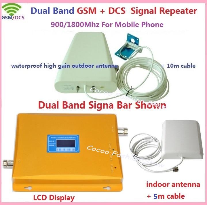 Affichage LCD complet DCS 1800 MHz + GSM 900 Mhz amplificateur de Signal de téléphone Mobile double bande, répéteur de Signal de téléphone portable + antenne + câble