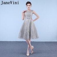 JaneVini 2018 Elegant Lace Long Bridesmaid Dresses For Weddings A Line Lace Appliques Zipper Back Tea Length Vestiti Damigella