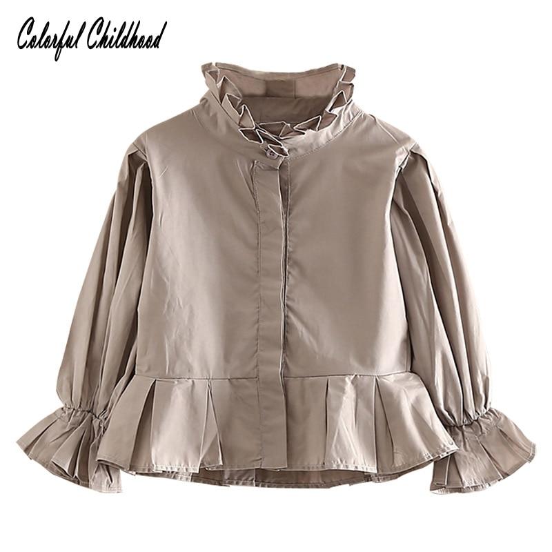 Big girls blouse autumn cotton flare sleeve baby teenage girls white/grey blouse children long sleeve shirt school girls tops все цены