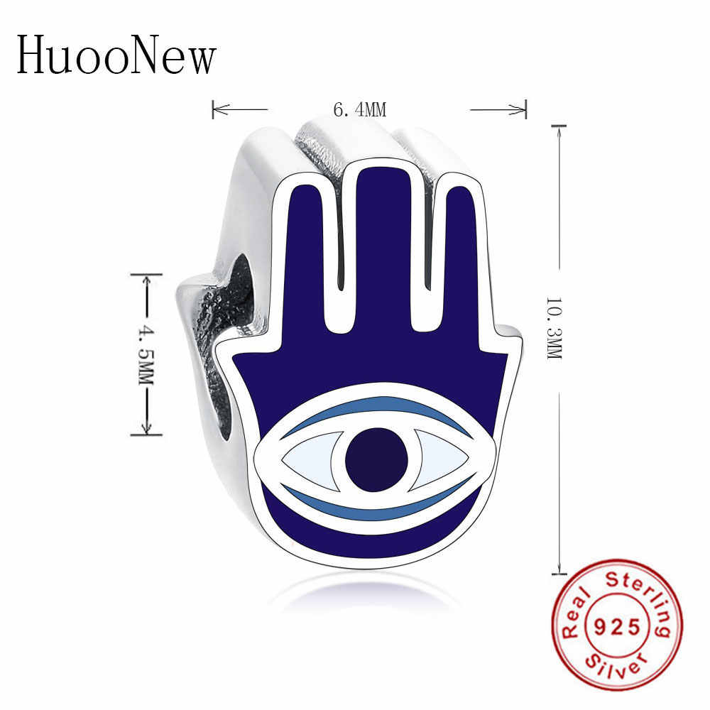 フィットオリジナルパンドラチャームブレスレット 925 スターリングシルバーブルーと白のファティマの手邪眼目ビーズウエスト作る berloque