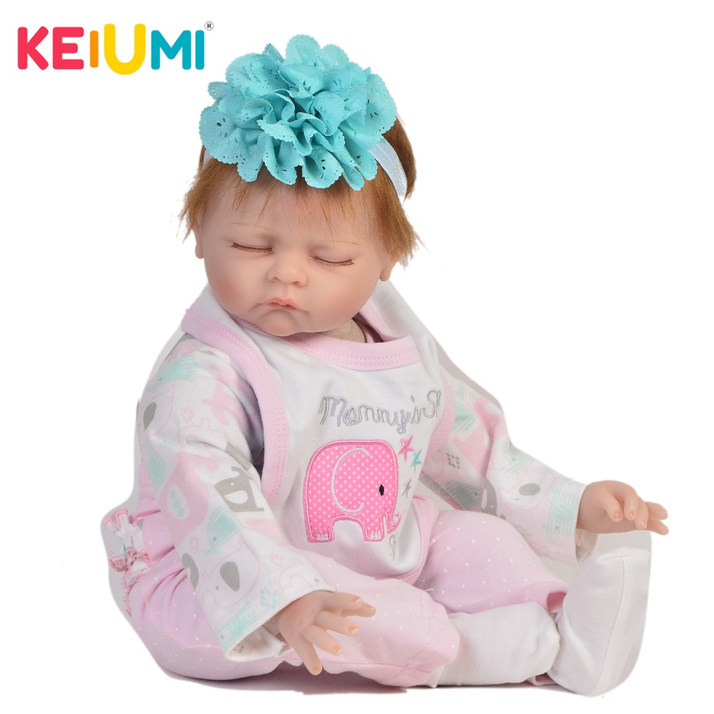 KEIUMI Lifelike 22 Inch Reborn Baby Doll Cloth Body Realistic Fashion Sleeping Baby Doll Toy For Children's Day Kid Gifts keiumi cute 22 inch reborn baby doll cloth body realistic fashion princess baby doll toy for children s day kid xmas gifts