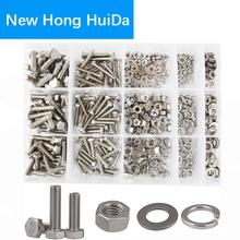 DIN933 Hex Flat Head Bolt Nut Hexagon Thread Metric Screw and Lock Washers Set Assortment Kit 304 Stainless Steel M4 M5 M6