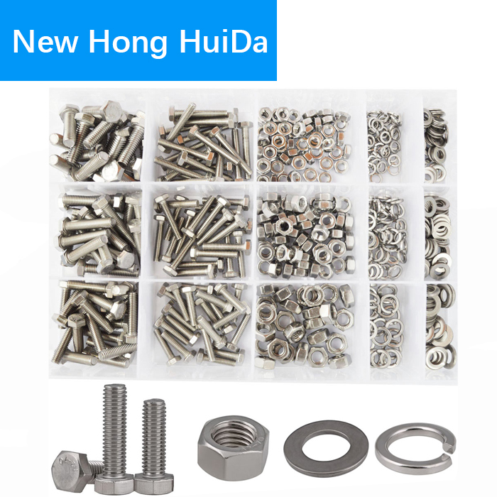 DIN933 Hex Flat Head Bolt Nut Hexagon Thread Metric Screw Flat and Lock Washers Set Assortment Kit 304 Stainless Steel M4 M5 M6