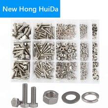 DIN933 tornillo hexagonal de cabeza plana, tuerca de perno, rosca hexagonal, juego de Arandelas de seguridad y planos, Kit surtido, acero inoxidable 304, M4, M5, M6