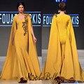 Amarilla de moda de La Sirena Vestidos de Noche Turco Con Capa Larga 2016 de Alta Calidad Árabe Dubai Vestidos Formales Vestidos de Noche