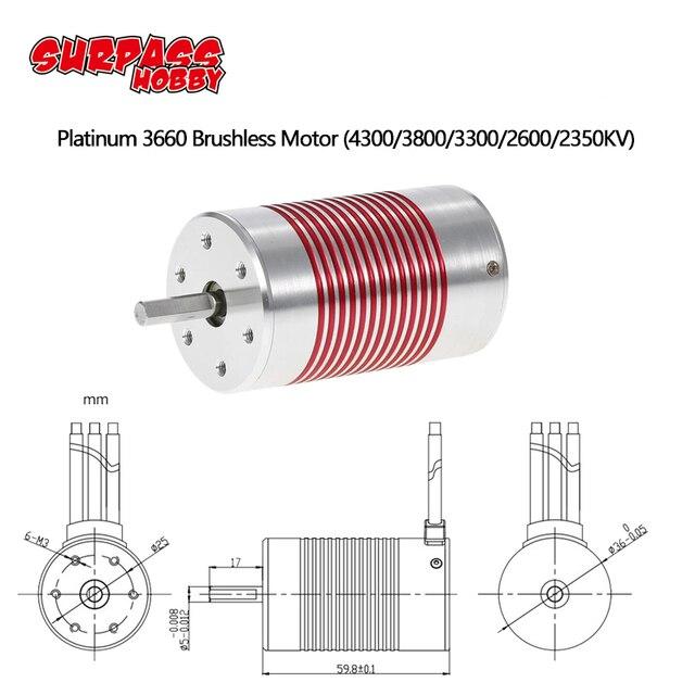 SURPASSHOBBY Platinum Waterproof Series 3660 4300KV 3800KV 3300KV Sensorless Brushless Motor Engine for 1/10 RC Car Truck Model