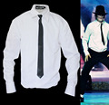 Rare MJ Michael Jackson Style White Shirt Thread Gluing NO Button Dangerous Bad Wear With Tie Quick Change Imitation