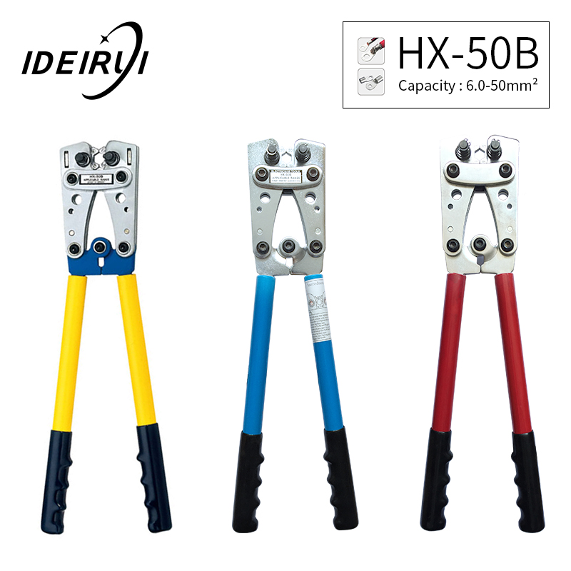 Steel HX-50B Wire Terminal Crimping Tool Cable Lug Crimper Hand Ratchet Terminal Ratchet Electrician Plier AWG1-10Steel HX-50B Wire Terminal Crimping Tool Cable Lug Crimper Hand Ratchet Terminal Ratchet Electrician Plier AWG1-10