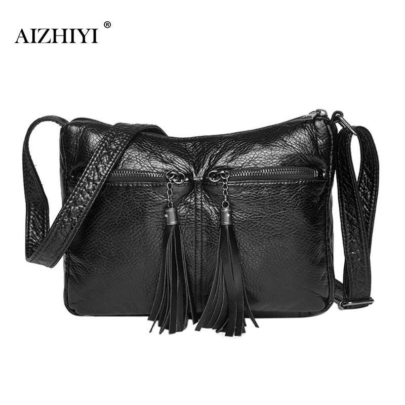 Women Tassel Vintage Soft Messenger Bags PU Leather Simple Fashion Black Hobos Handbags Designer Female Crossbody Shoulder Bag кольца