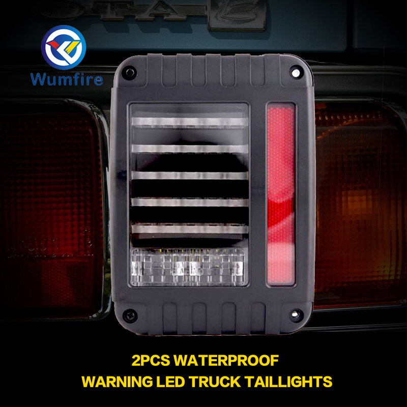 For Jeep Wrangler JK JKU 2007 - 2017 Clear Lens Red LED Tail Light w/ Turn Signal & Back Up & Smoke 3rd LED Brake Light For JK