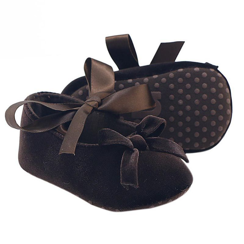 Baby Girl Bowknot Flock Shoes Infant Girl First Walker Soft Sole Shoes