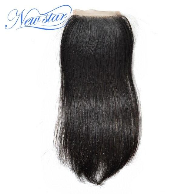New star estilo livre peruano virgem cabelo liso top lace closure naturais off preto 8-18 polegada (30-55 g/pçs) & dhl frete grátis