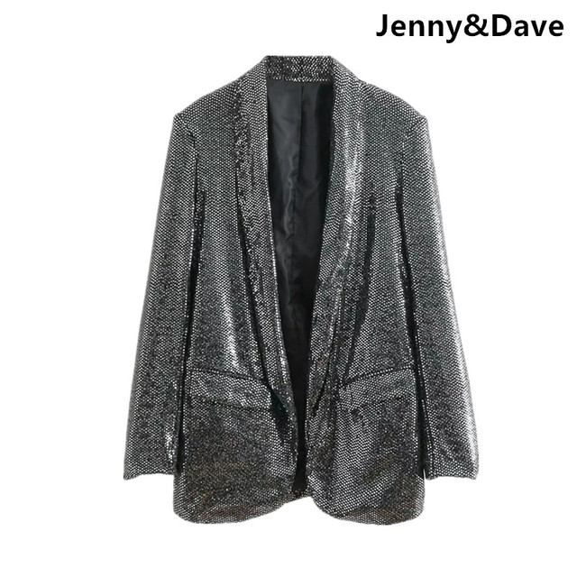 bc25d2ba0aff2 Jenny Dave 2018 blazer feminino Casual noched england style sequined open  stitch blazers women Suit jacket plus