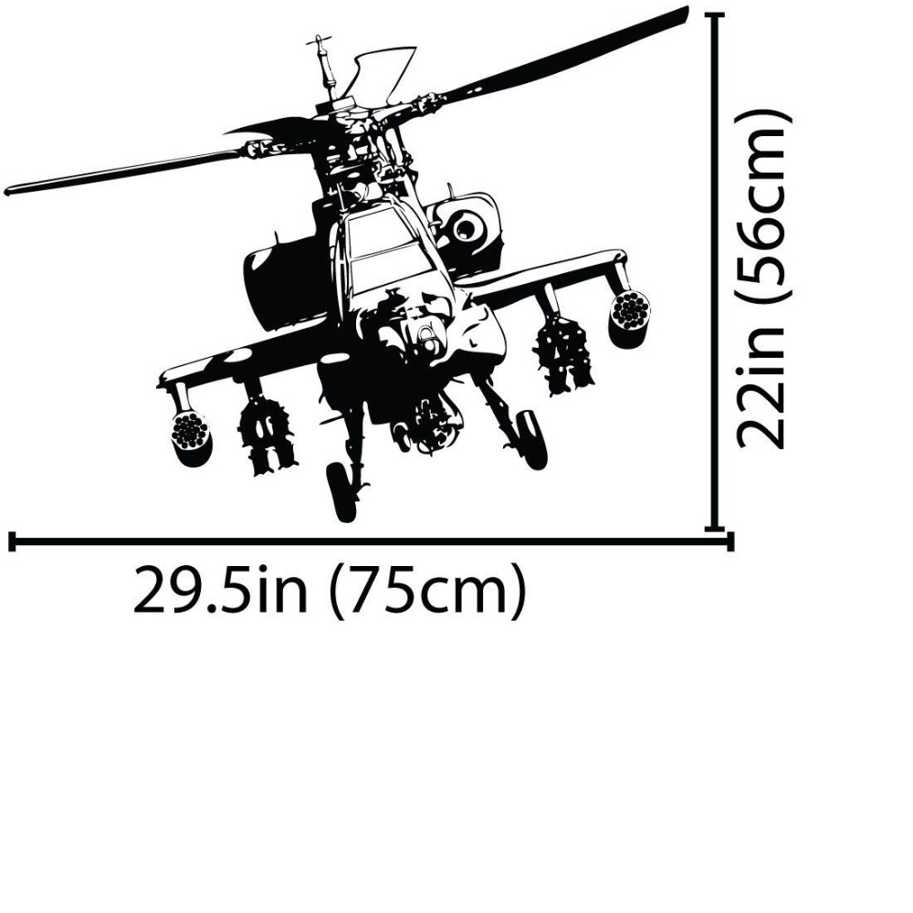 hight resolution of aliexpress com buy free shipping army air force military apache helicopter wall decal art decor sticker home decoration vinyl mural es 64 from reliable