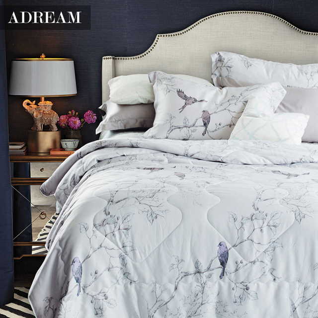 Adream Natural Fiber Floral Pattern Quilted Bedspread 100 Tencel