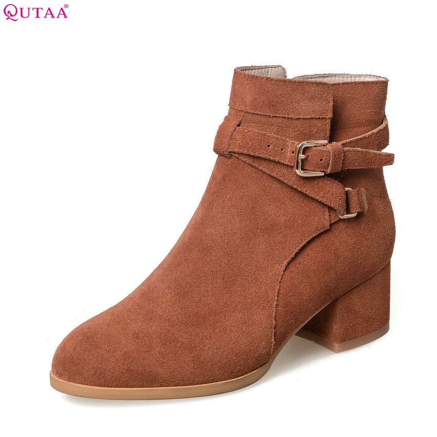 QUTAA 2018 Women Fashion Ankle Boots High Quality Zipper/ Buckle Design Women Shoes Squre High Heel Round Toe Boots Size 34-39