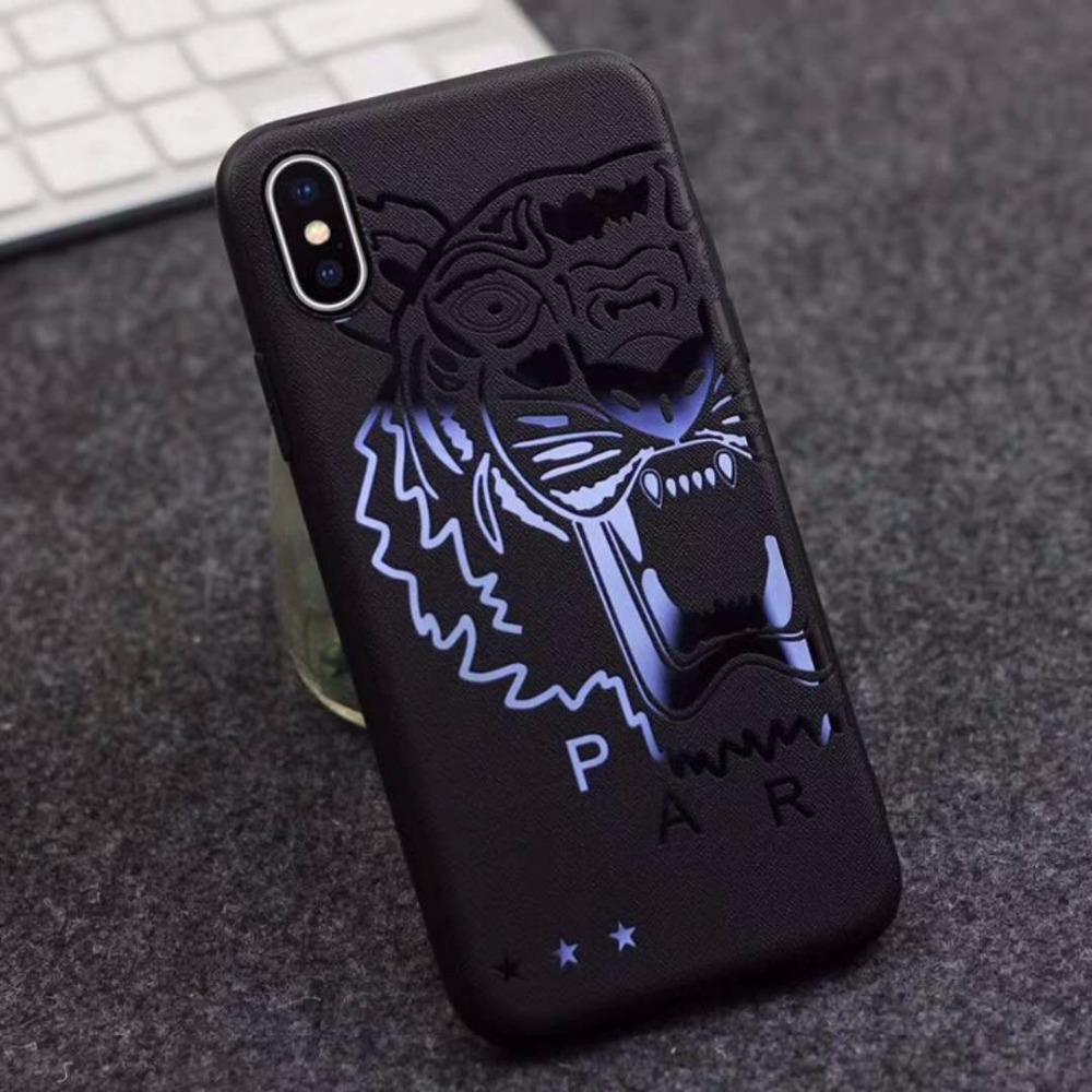 Relief Simple Black Phone Case for Apple iPhone X 6 6S 7 8 Plus Superman Batman Soft TPU Cover Coque Man Gift Dragon Tiger Shell