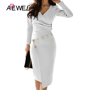 ADEWEL Casual White Bodycon Pencil Office Work Dress Women Long Sleeve V-Neck Button Ruched Party Midi Gown Asymmetrically Dress
