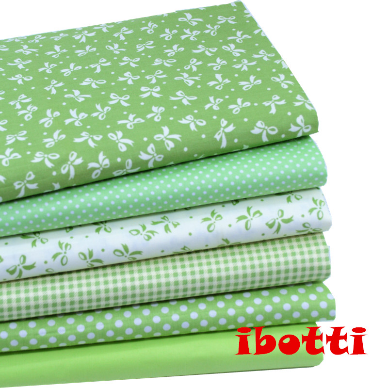 6Pcs/Lot 40x50cm Green Bowknot Dot  grid Series 100% cotton fabric patchwork fabric Bundle tilda fabric for sewing Diy cloth