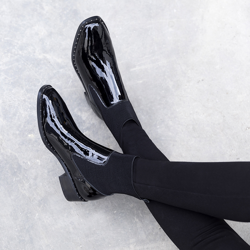 Designer Cuir Femmes Confort Véritable Bottes Des Qualité Slip Chaussures Court Chaussons Verni Haute Automne sur Appartements Black Cheville Marque Stretch qd44vx