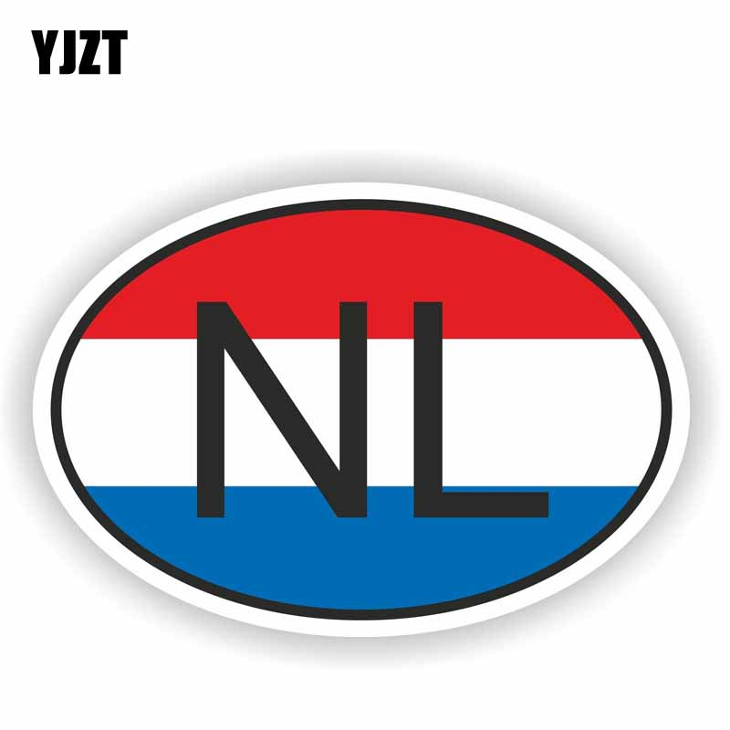 YJZT 16.9CM*11.4CM Car <font><b>Bike</b></font> NL NETHERLANDS COUNTRY CODE Personality Car <font><b>Sticker</b></font> Decal PVC 6-0196 image