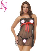 Exotic Apparel Sexy Women Red Bow Lingerie Transparent Voile Dress Sex Costumes Porno Underwear Intimates
