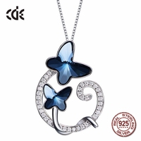 100% S925 Sterling Silver & Blue Butterfly Crystals from Swarovski Jewelry Austrian Rhinestone Paved Necklaces for Women Gift