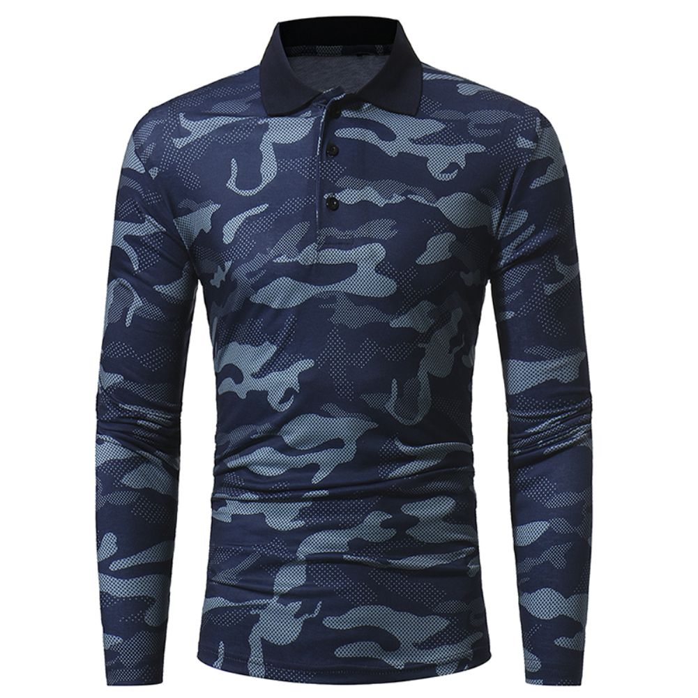 Hot Sale Slim Fit Mens Casual Camouflage Turn Down Collar Long