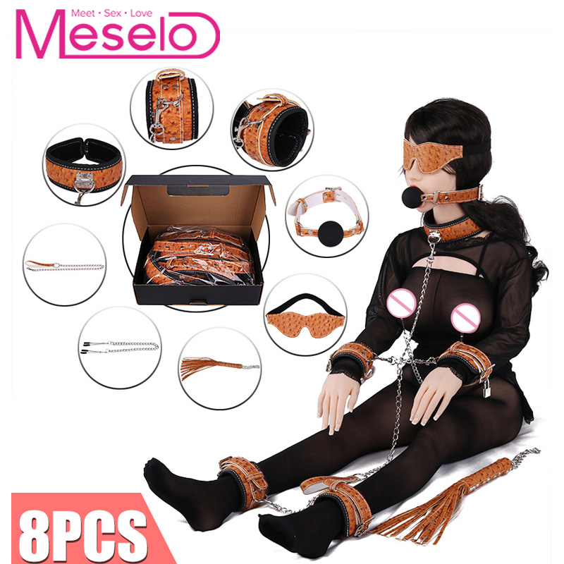 Meselo 8pcs/set Adult Games Sex Toys For Couples Bdsm Bondage Mouth Gag Whip Bdsm Sex Game Bondage Restraints Slave Erotic Toys adult sex products bondage restraints 10 pieces set sex toys for couples handcuffs whip gag for adult slave game erotic toys