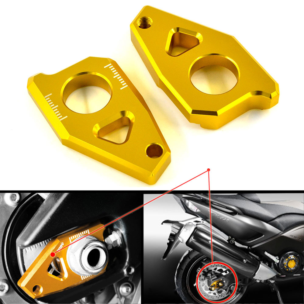 Motorcycle CNC Aluminum Rear Axle Spindle Chain Adjuster Blocks for Yamaha TMAX 530 YZF R1 FZ8 2012-2015 FZ1 2006-2015