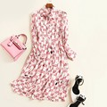 Europe and the United States women's clothing in the spring of 2017 the new lace bowknot collar printed pure silk dress
