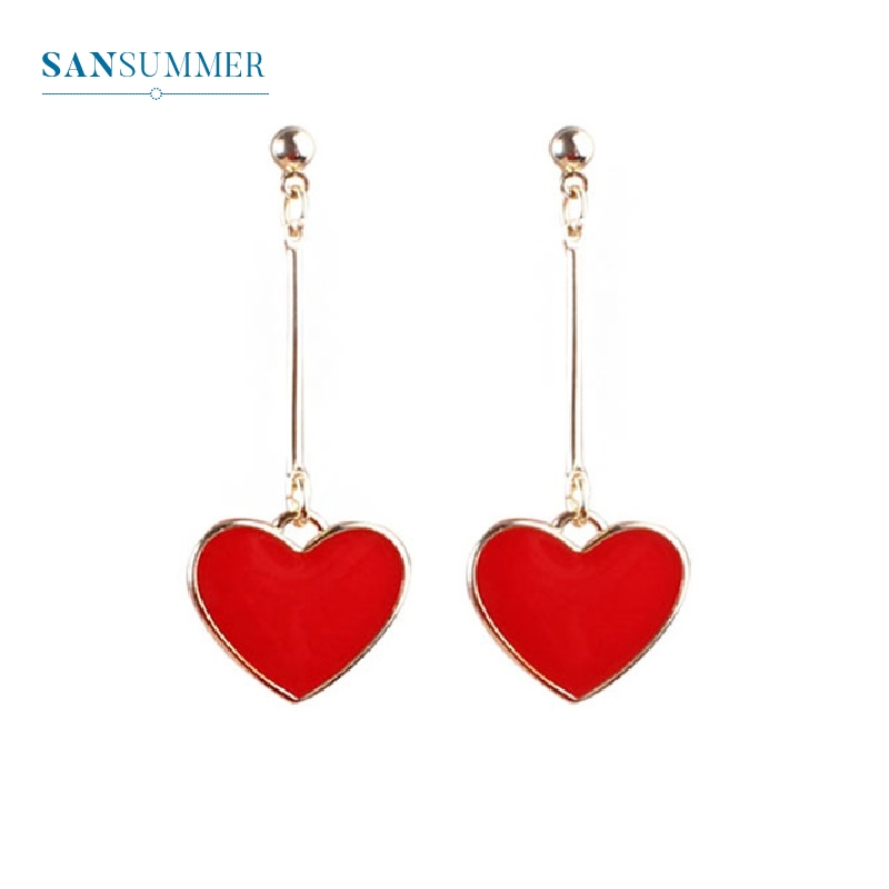 Fashion Hot Heart Drop Earrings Classic Mental Dangle Earrings For Women Girls Boucle D Oreille Sweat Heart Minimalist Jewelry