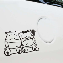 12*15cm New Style Car Styling Two Cute Cow Cattle Stickers for Truck Decor Door Body Accessories